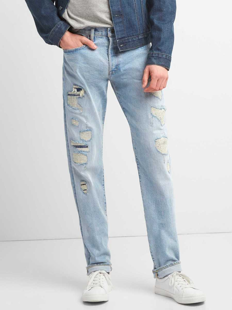 Limited-Edition Distressed Cone Denim® Selvedge Slim Jeans with GapFlex Vintage Light - Gap - GOOFASH
