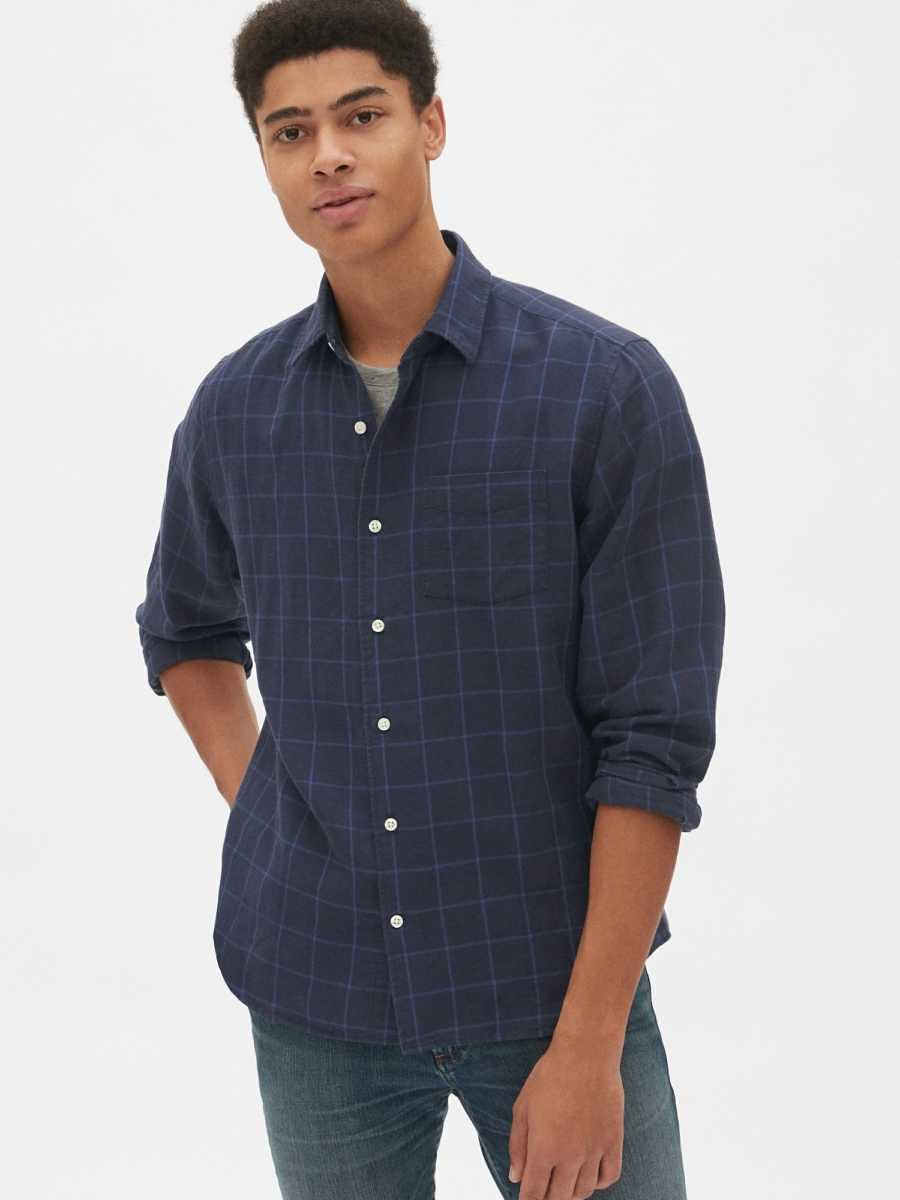 Linen-Cotton Shirt in Standard Fit Navy Print - Gap - GOOFASH