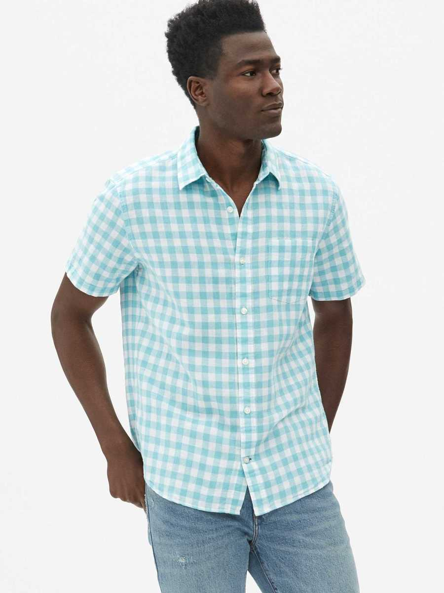 Linen-Cotton Short Sleeve Shirt Tiny Gingham Poolside - Gap - GOOFASH
