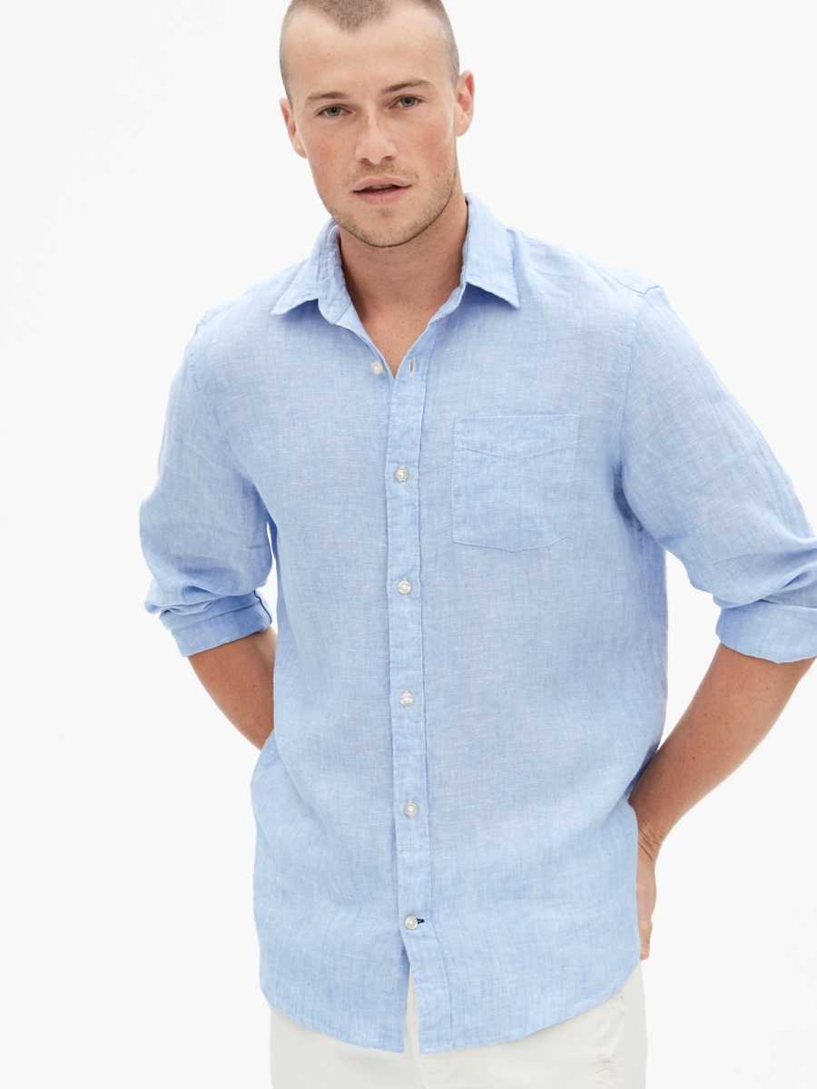 Linen Shirt Light Blue - Gap - GOOFASH