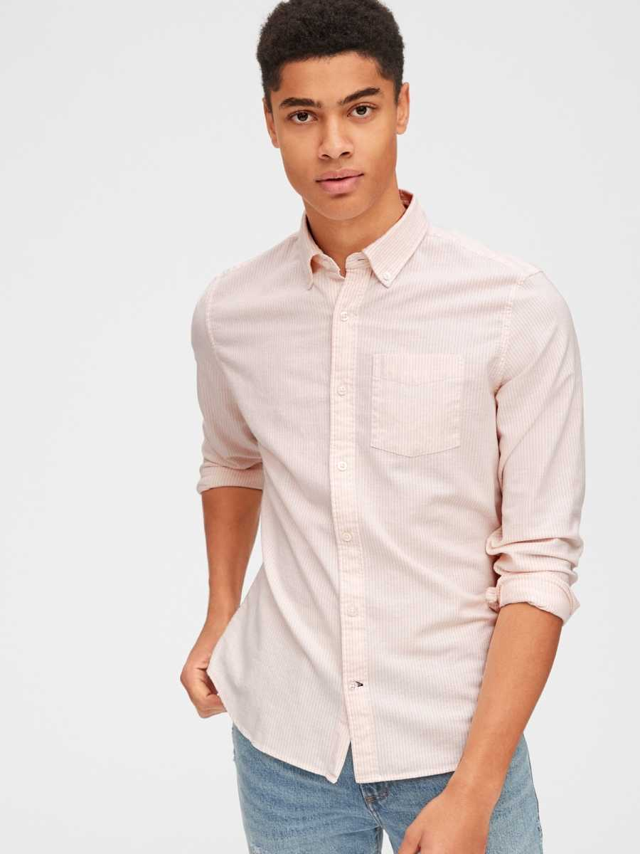 Lived-In Stretch Oxford Shirt Pink Stripe - Gap - GOOFASH