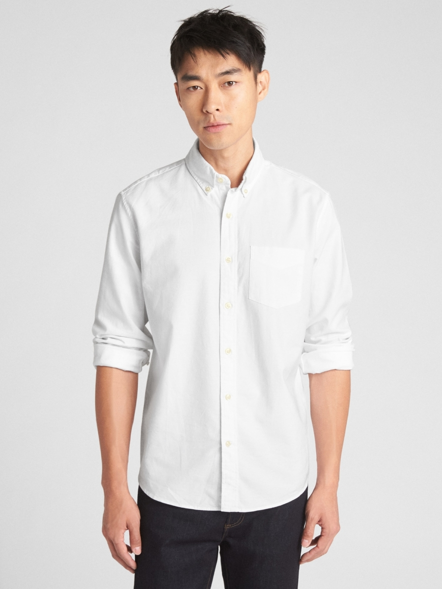 Lived-In Stretch Oxford Shirt in Untucked Fit White - Gap - GOOFASH
