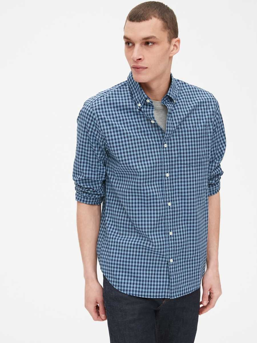 Lived-In Stretch Poplin Shirt Buxton Blue - Gap - GOOFASH