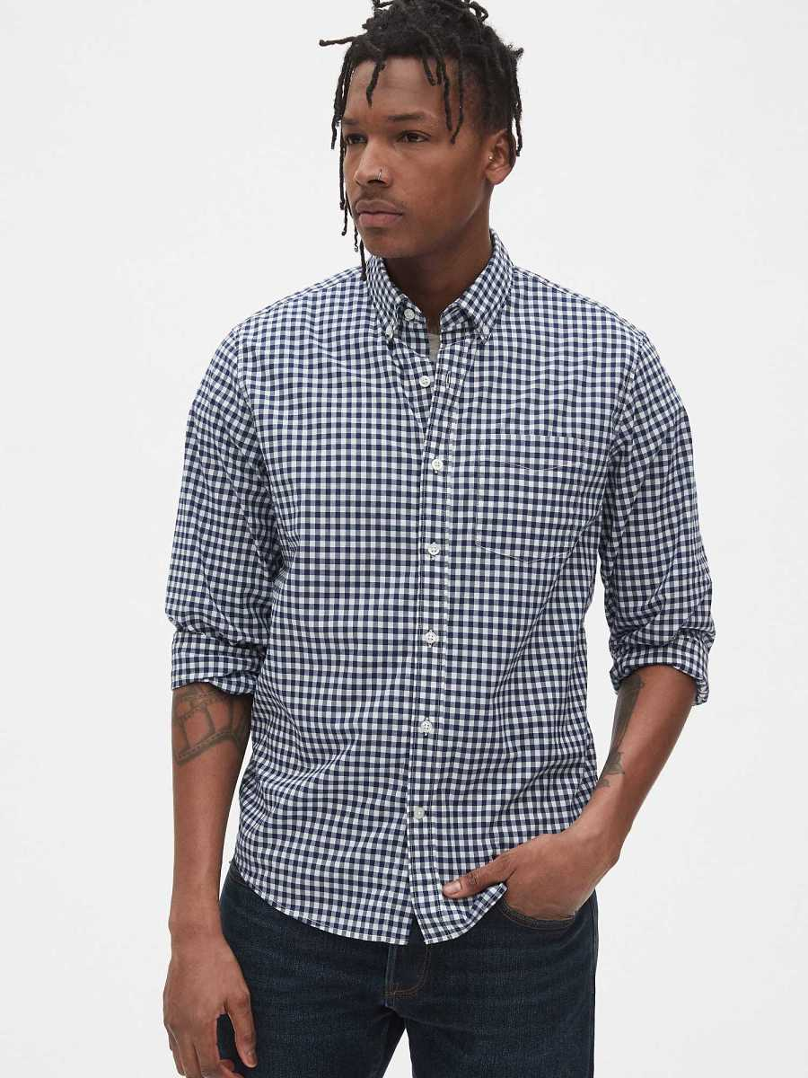 Lived-In Stretch Poplin Shirt in Untucked Fit Blue Gingham - Gap - GOOFASH