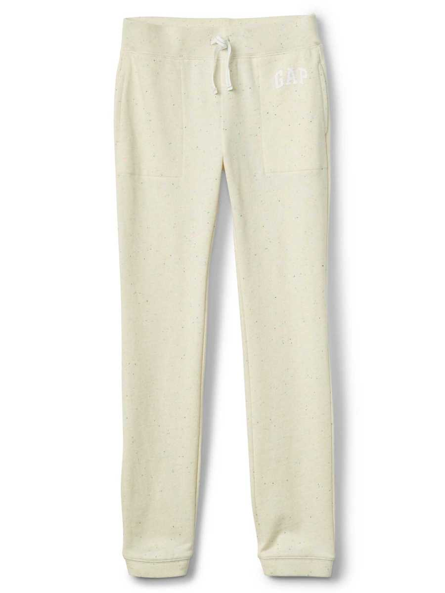 Logo Pants in French Terry Ivory Frost - Gap - GOOFASH