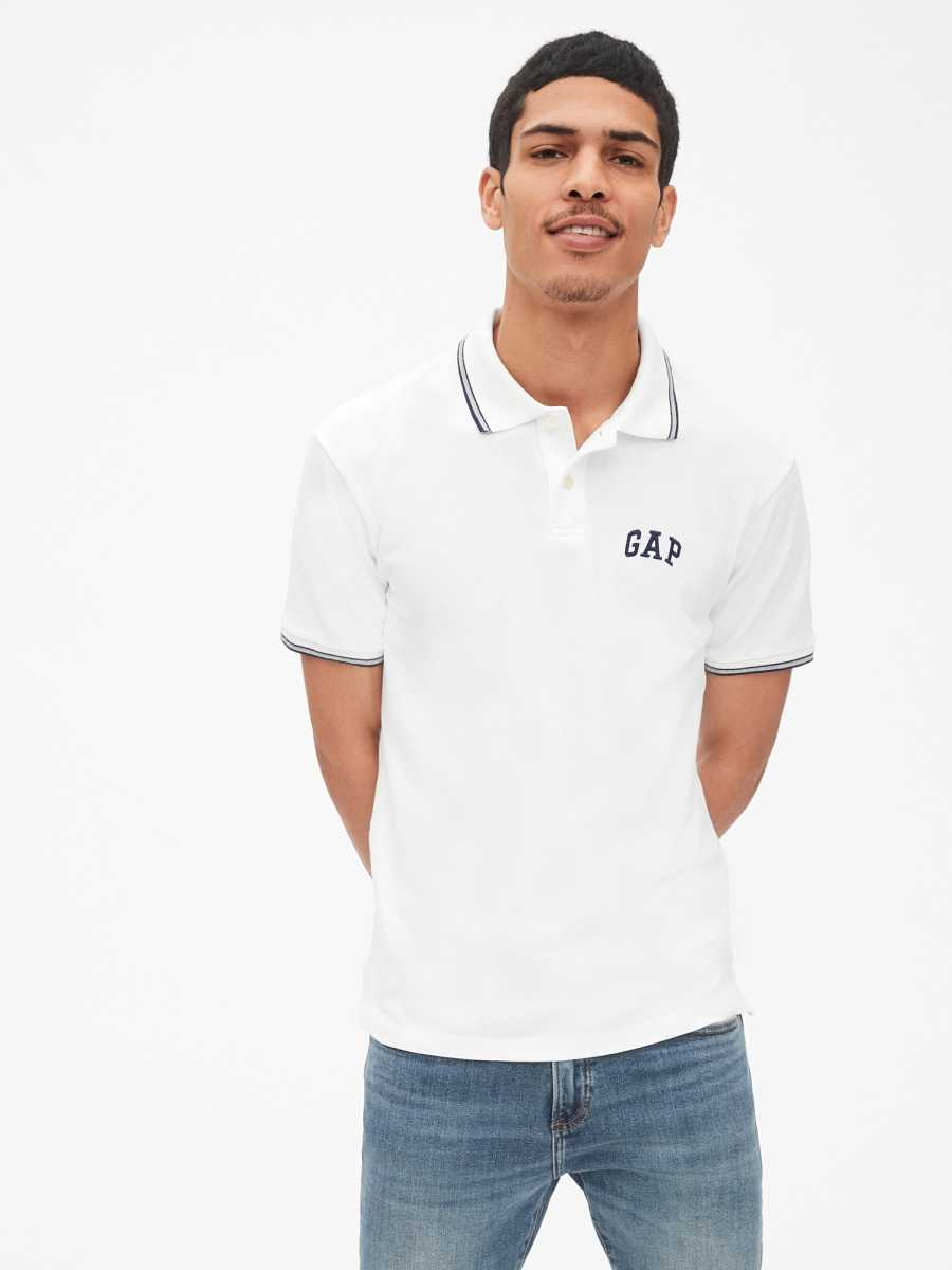 Logo Pique Polo Shirt Shirt in Stretch White V2 Global - Gap - GOOFASH