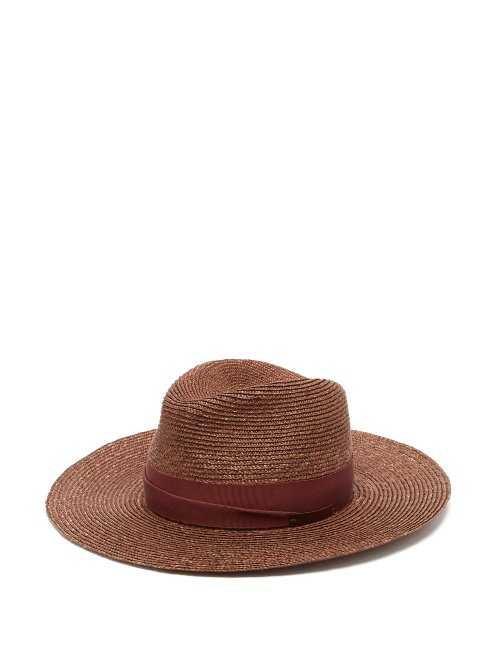 Lola Hats - Fold Back Straw Hat - Brown Brown - Matches Fashion - GOOFASH