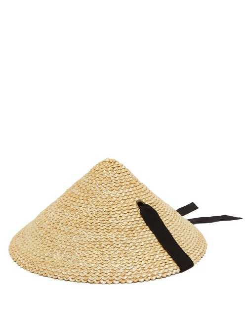 Lola Hats - Pine Cone Straw Hat - Black Black - Matches Fashion - GOOFASH
