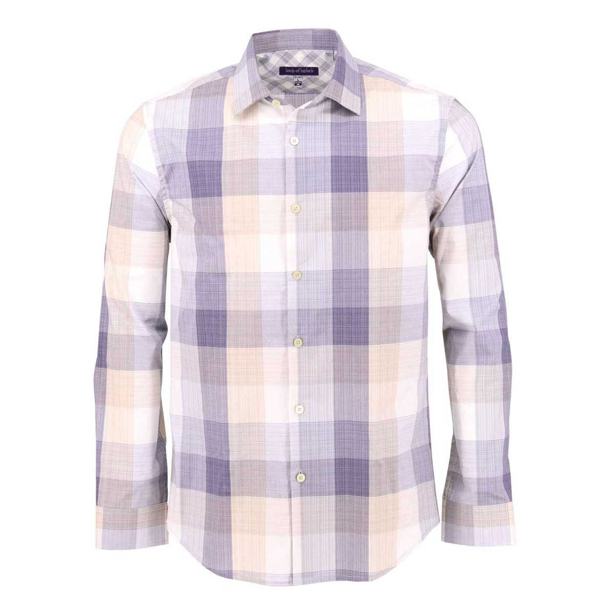 Lords of Harlech - Nigel Shirt In Block Natural Plaid - Wolf And Badger - GOOFASH