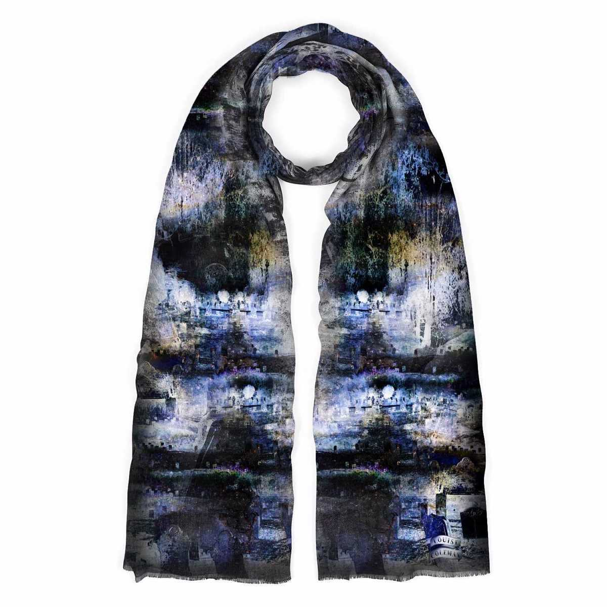 Louise Coleman - Midnight Cashmere Scarf - Wolf And Badger - GOOFASH