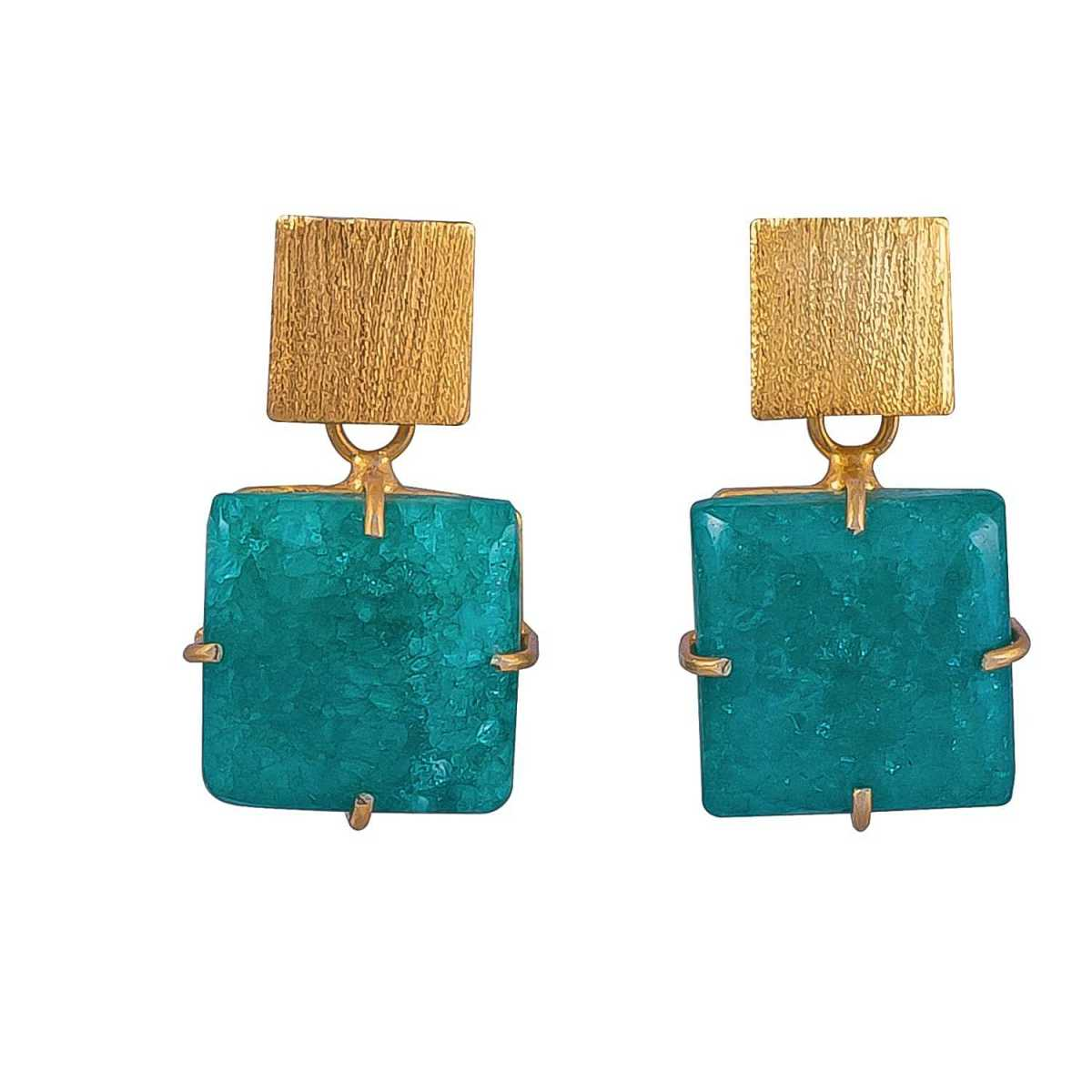 Magpie Rose - Green Square Solar Quartz Earrings - Wolf And Badger - GOOFASH