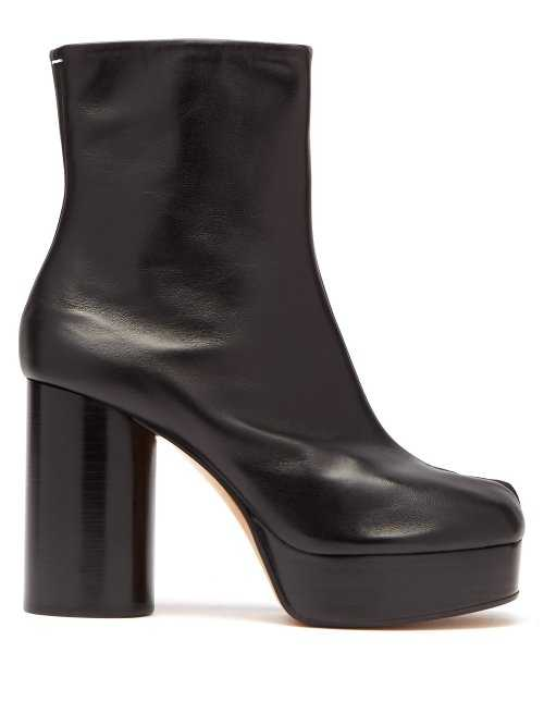 Maison Margiela - Tabi Split Toe Leather Platform Boots - Black Black - Matches Fashion - GOOFASH