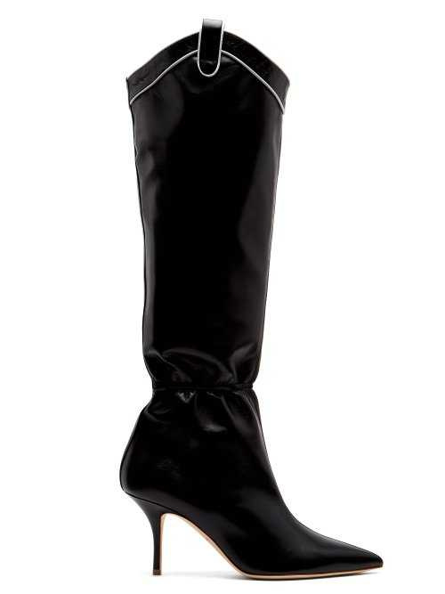 Malone Souliers - Daisy Ruched Western Leather Boots - Black Black - Matches Fashion - GOOFASH