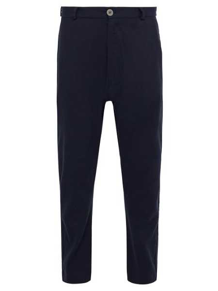 Marrakshi Life - Mid Rise Cotton Blend Tapered Trousers - Blue Blue - Matches Fashion - GOOFASH