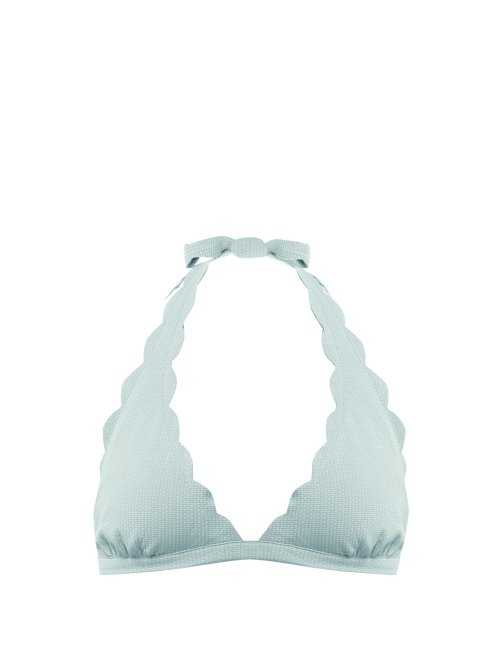 Marysia - Spring Scallop Edged Bikini Top - Blue Blue - Matches Fashion - GOOFASH
