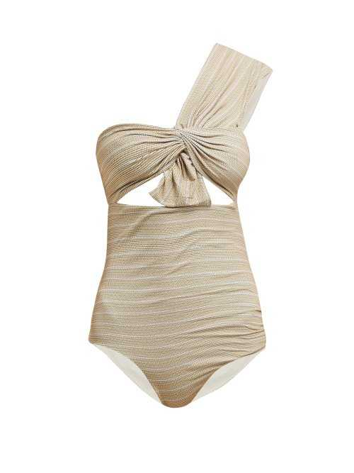 Marysia - Venice One Shoulder Cut Out Swimsuit - Beige Beige - Matches Fashion - GOOFASH