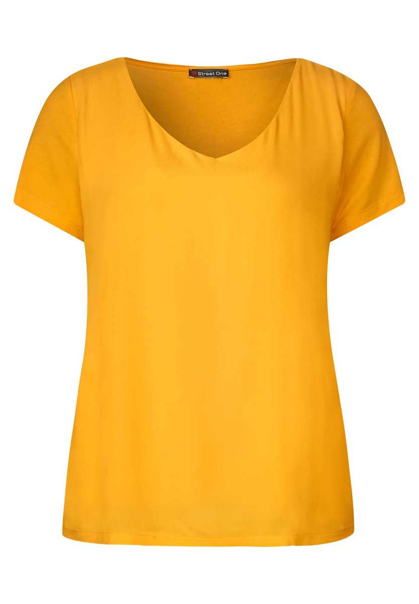 Material mix shirt with V-neck - bright clementine - Street One - GOOFASH