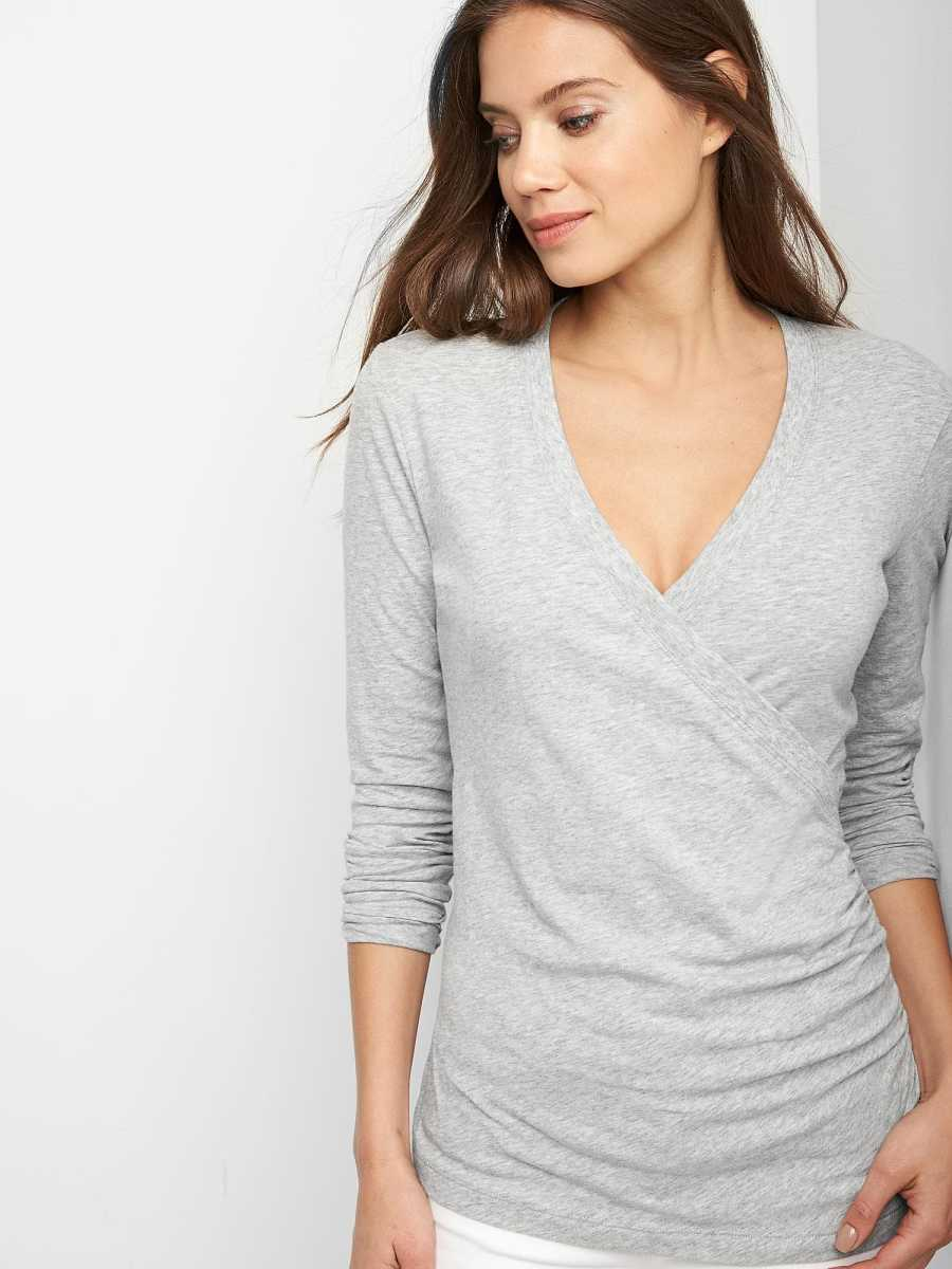 Maternity Crossover Nursing Top Grey - Gap - GOOFASH