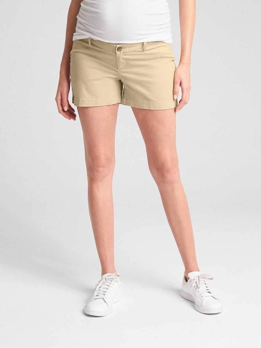 Maternity Inset Panel Summer Shorts in Stretch Twill Iconic Khaki - Gap - GOOFASH