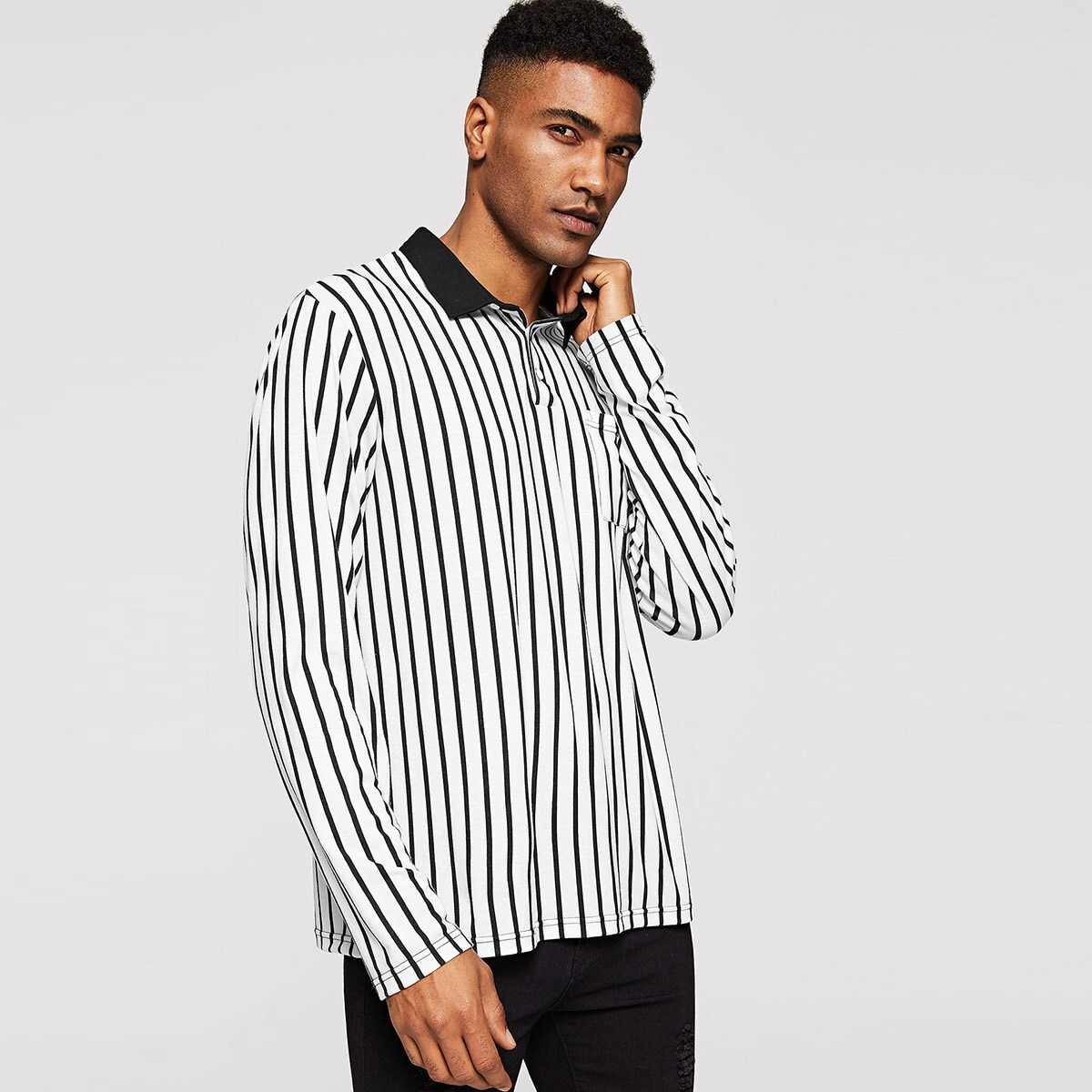 Men Contrast Collar Pocket Patched Striped Polo Shirt - Shein - GOOFASH
