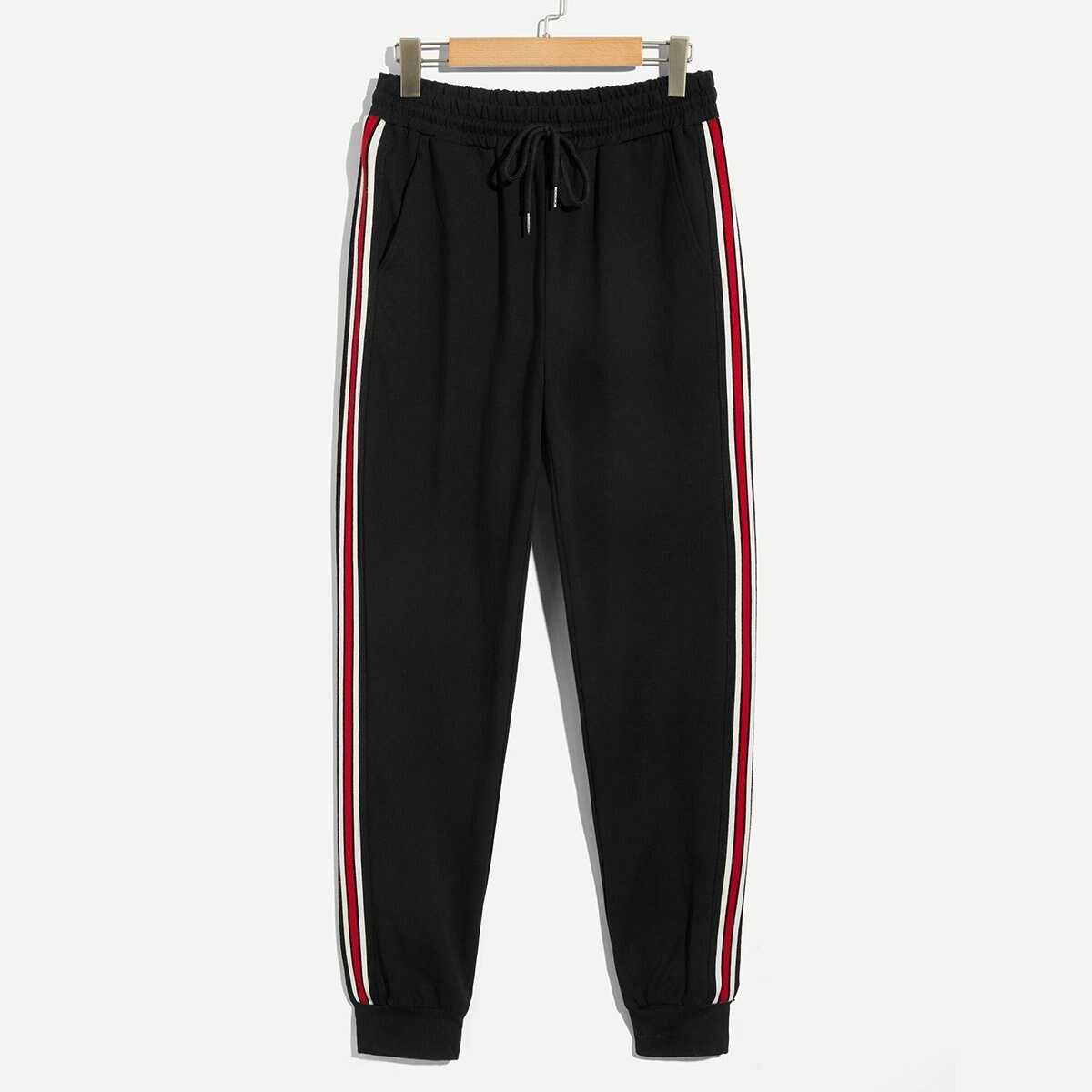 Men Contrast Striped Drawstring Waist Pants - Shein - GOOFASH