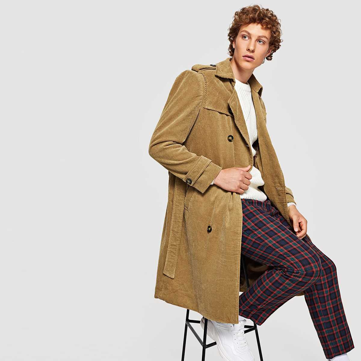 Men Double Breasted Belted Corduroy Coat - Shein - GOOFASH