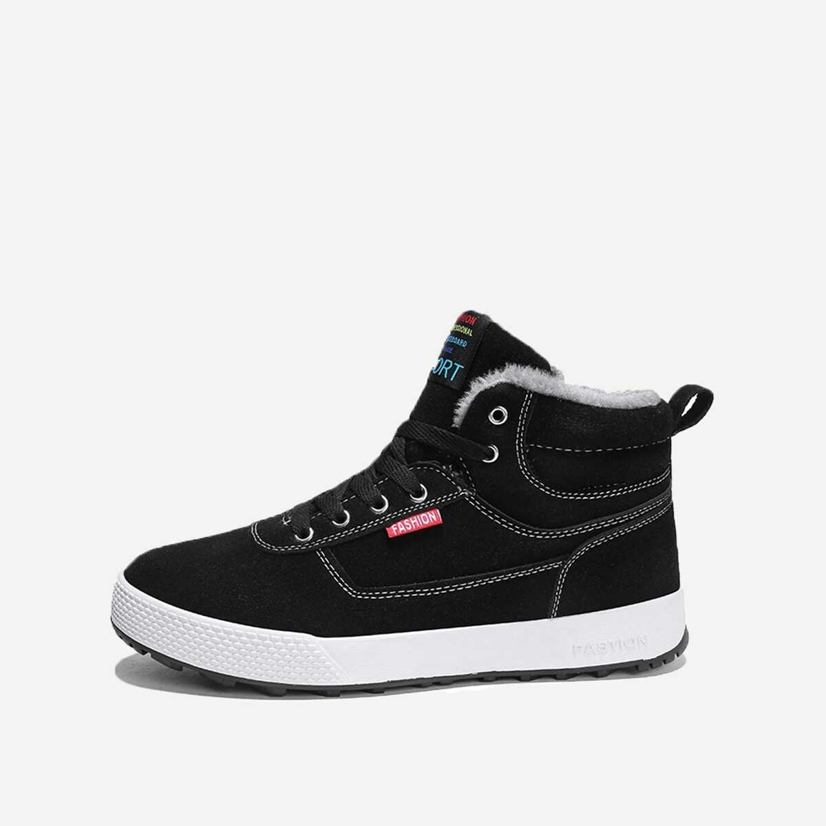 Men Faux Fur Lined Lace Up Sneakers - Shein - GOOFASH