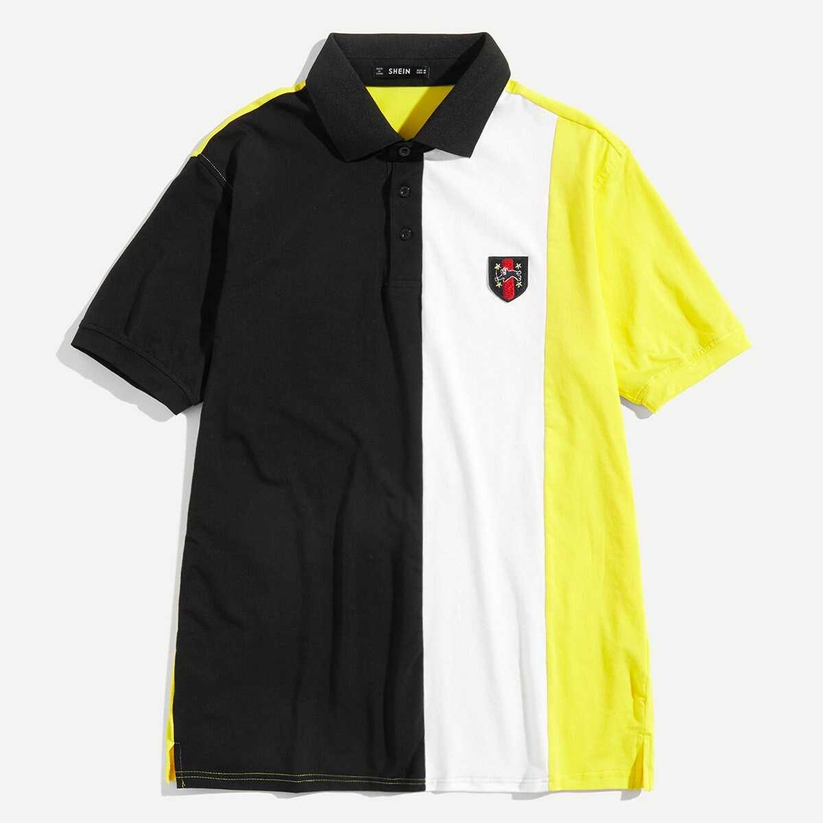 Men Patched Detail Cut and Sew Polo Shirt - Shein - GOOFASH