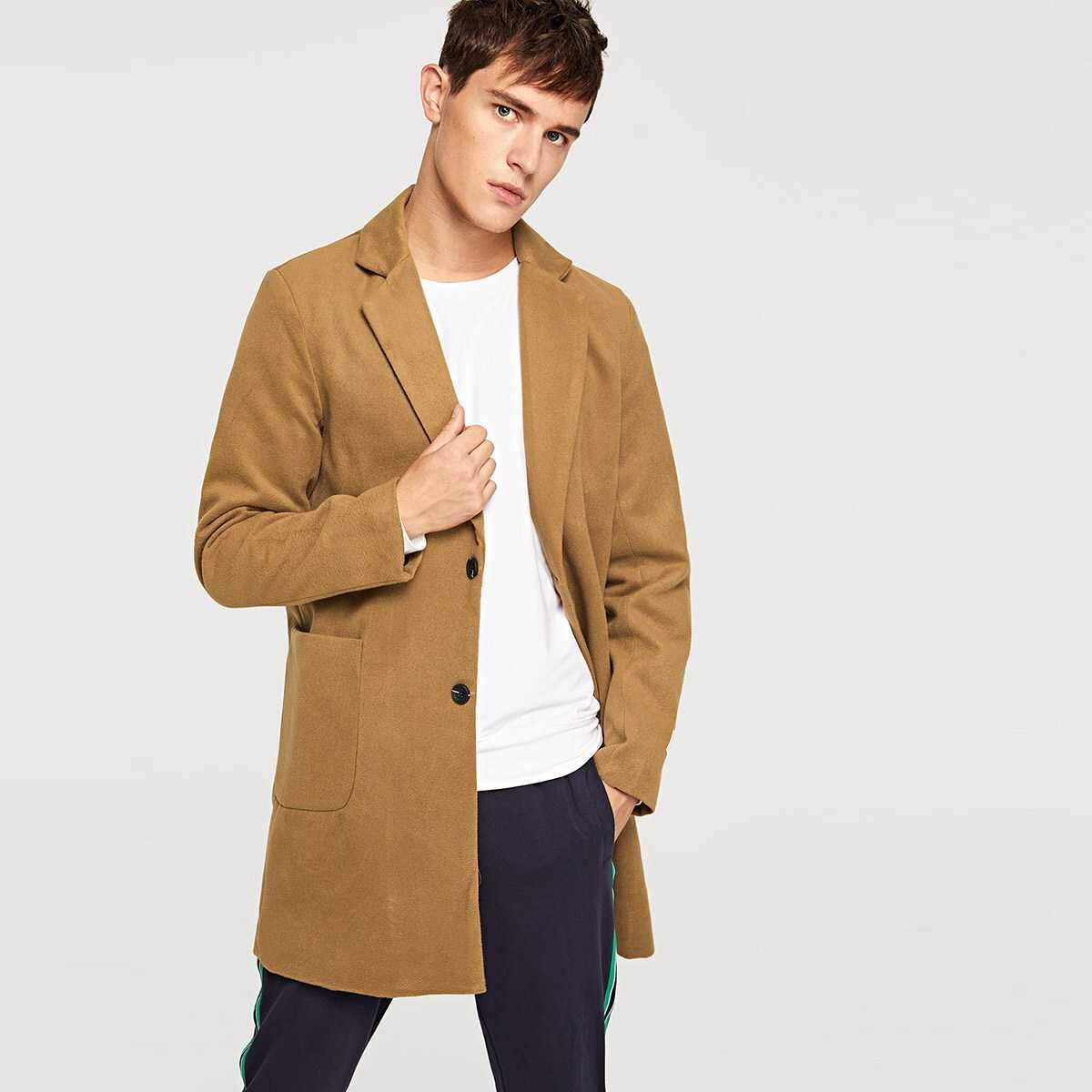 Men Solid Single Breasted Coat - Shein - GOOFASH