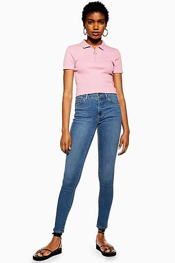 Mid Blue Leigh Jeans - Mid Stone - Topshop - GOOFASH - 602019001301315