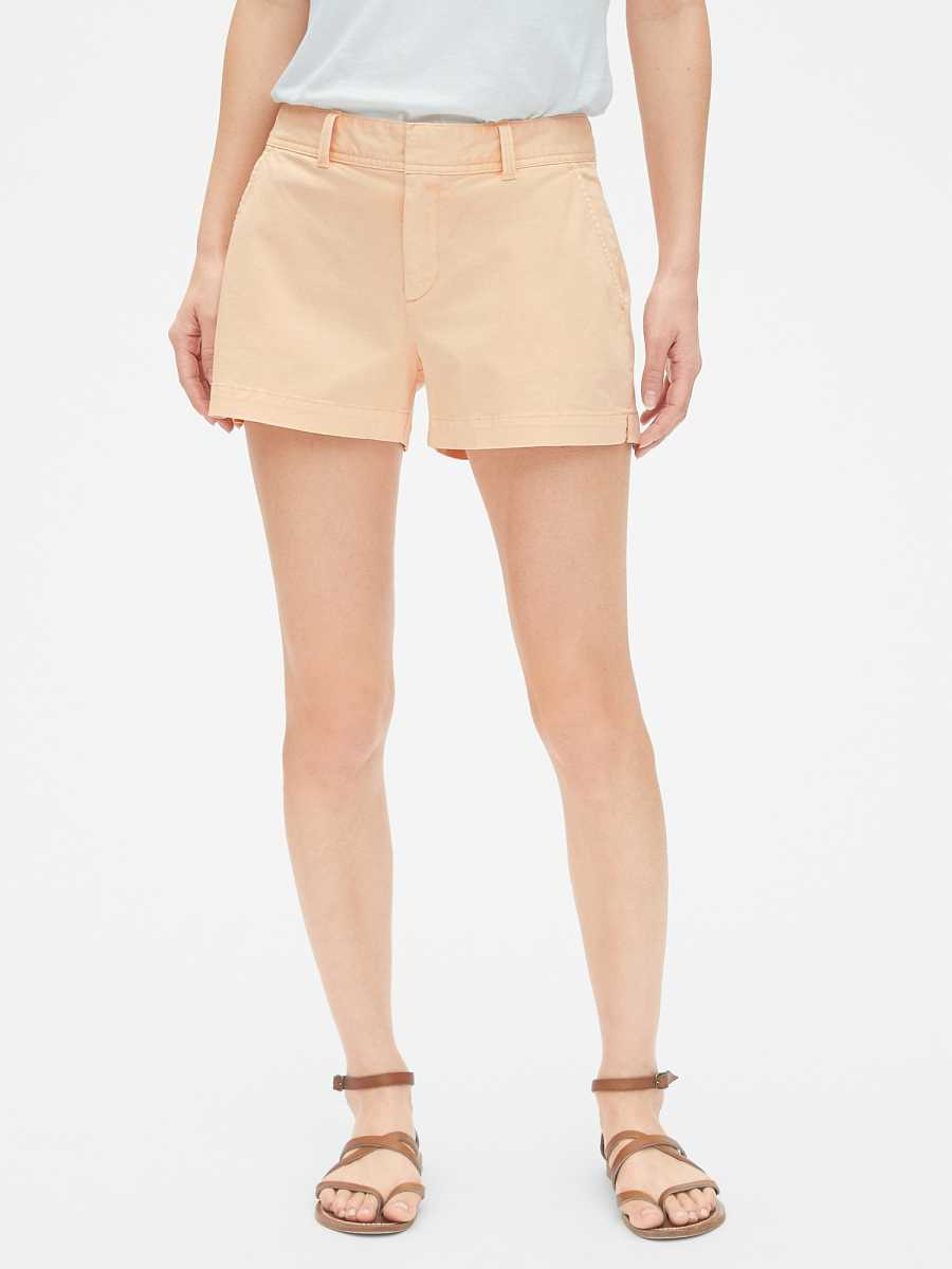 "Mid Rise 3"" City Shorts Peach - Gap - GOOFASH"