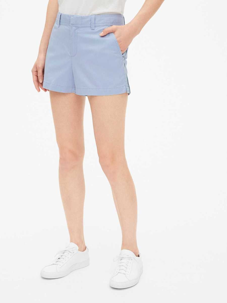 """Mid Rise 3"""" Embroidered City Shorts Resolution Blue - Gap - GOOFASH"""