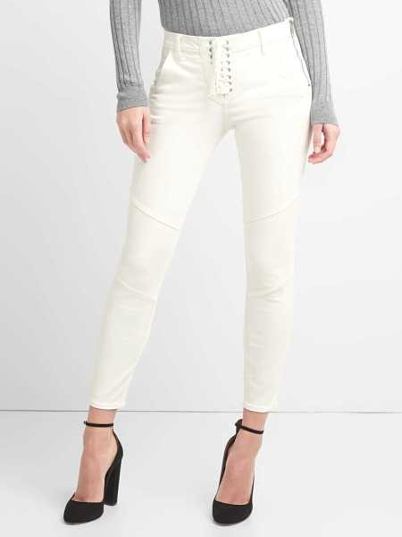 Mid Rise True Skinny Ankle Jeans with Lace-Up Detail (White) Off White - Gap - GOOFASH
