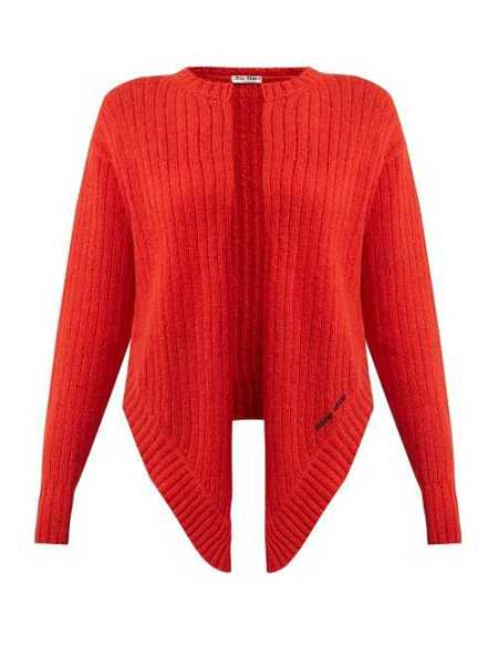 Miu Miu - Tie Front Wool Cardigan - Red Red - Matches Fashion - GOOFASH