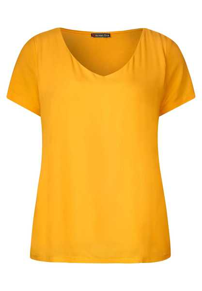 Mixed shirt with v-neck - bright clementine - Street One - GOOFASH