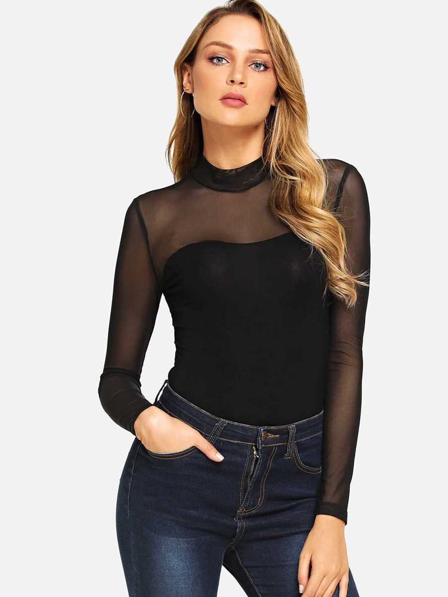 Mock Neck Mesh Yoke Fitted Bodysuit - Shein - GOOFASH