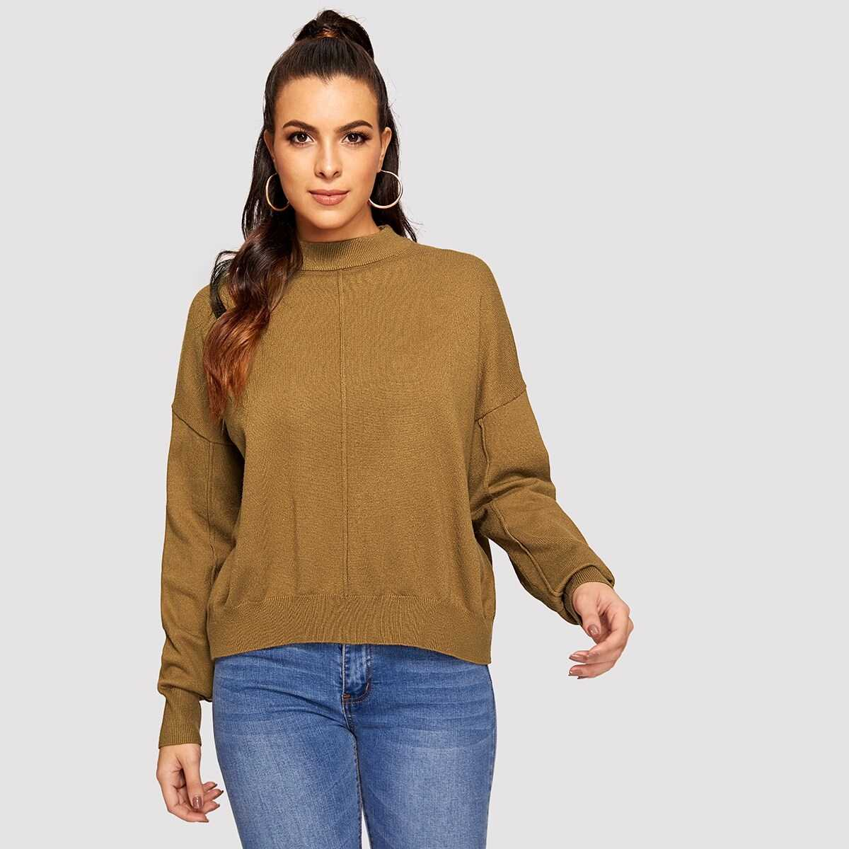 847521509ac8 Mock-neck Drop Shoulder Solid Sweater Shein | GOOFASH SHOP