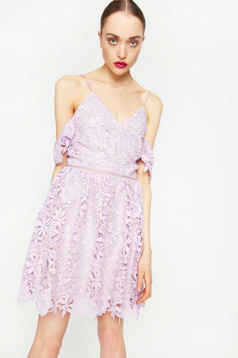 N12H Cold Shoulder Lace Dress - Own The Look - GOOFASH