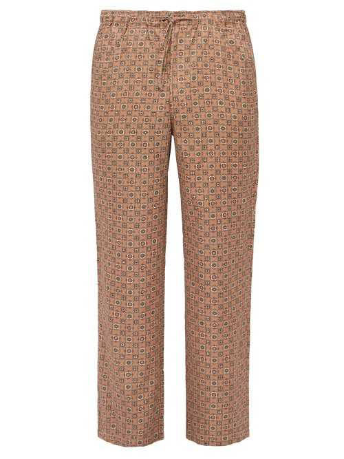 Needles - String Arrow Elasticated Waist Satin Trousers - Pink Pink - Matches Fashion - GOOFASH