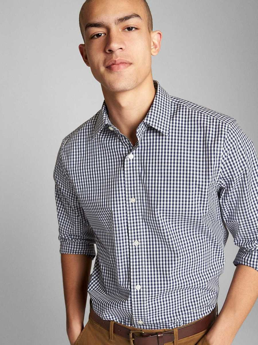 Non-Iron Shirt Blue Gingham - Gap - GOOFASH