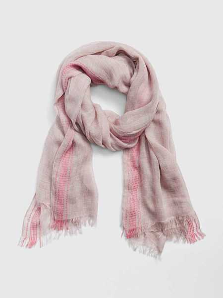 Oblong Stripe Edge Frayed Scarf Pink - Gap - GOOFASH