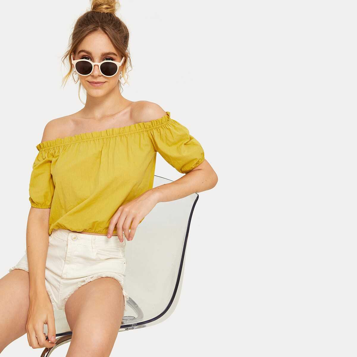 Off-shoulder Blouson Sleeve Frill Blouse - Shein - GOOFASH