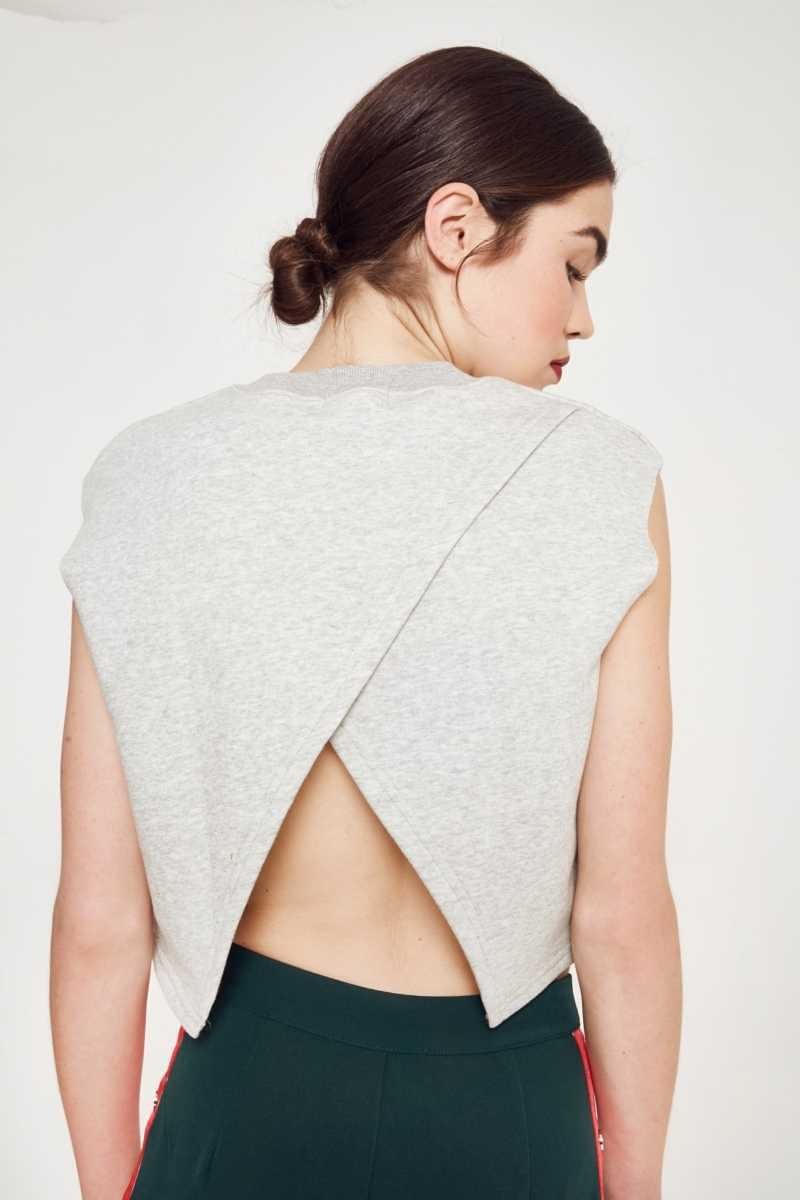 Ouor Cross Back Open Sweater Top  - Grey - Own The Look - GOOFASH