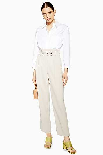 Paperbag Tapered Trousers - Stone - Topshop - GOOFASH - 602018001295503