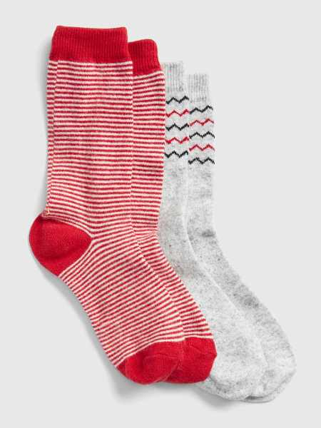 Pattern Crew Socks (2-Pack) Medium Grey & Red - Gap - GOOFASH