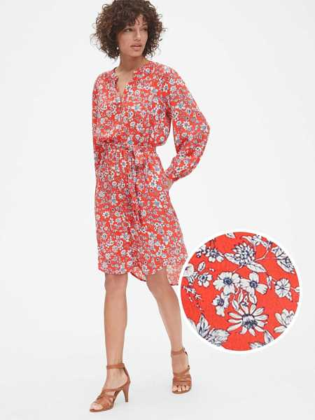 Perfect Long Sleeve Pleated Tie-Waist Shirtdress Red Floral - Gap - GOOFASH