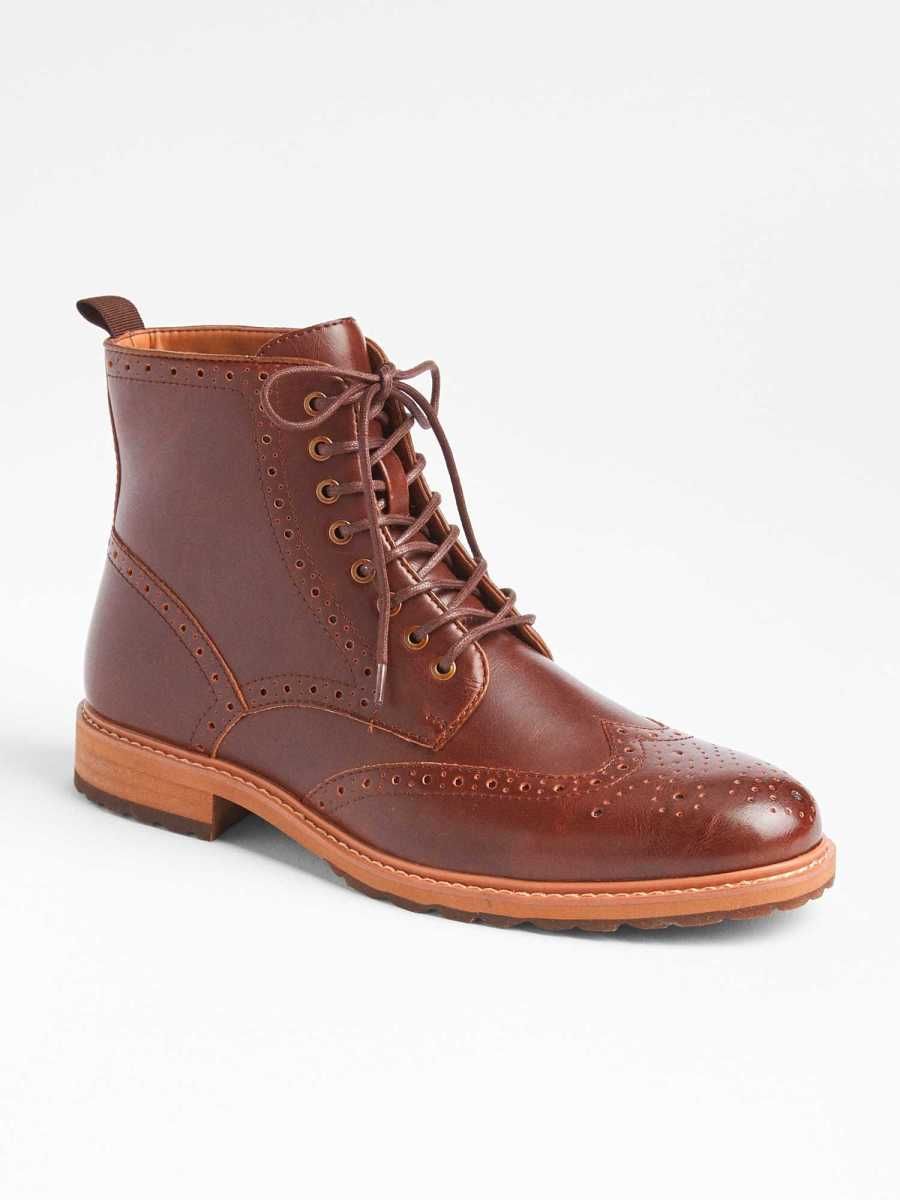 Perforated Lace-Up Dress Boots Baroque Brown - Gap - GOOFASH
