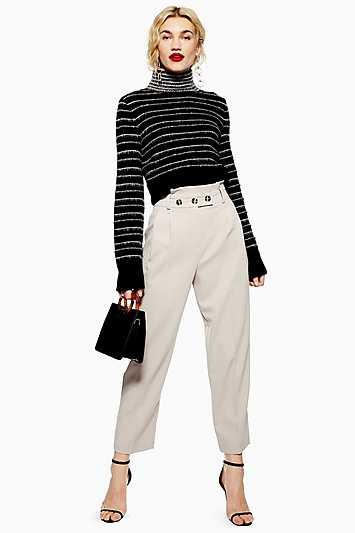 Petite Paperbag Tapered Trousers - Stone - Topshop - GOOFASH - 602019001307688
