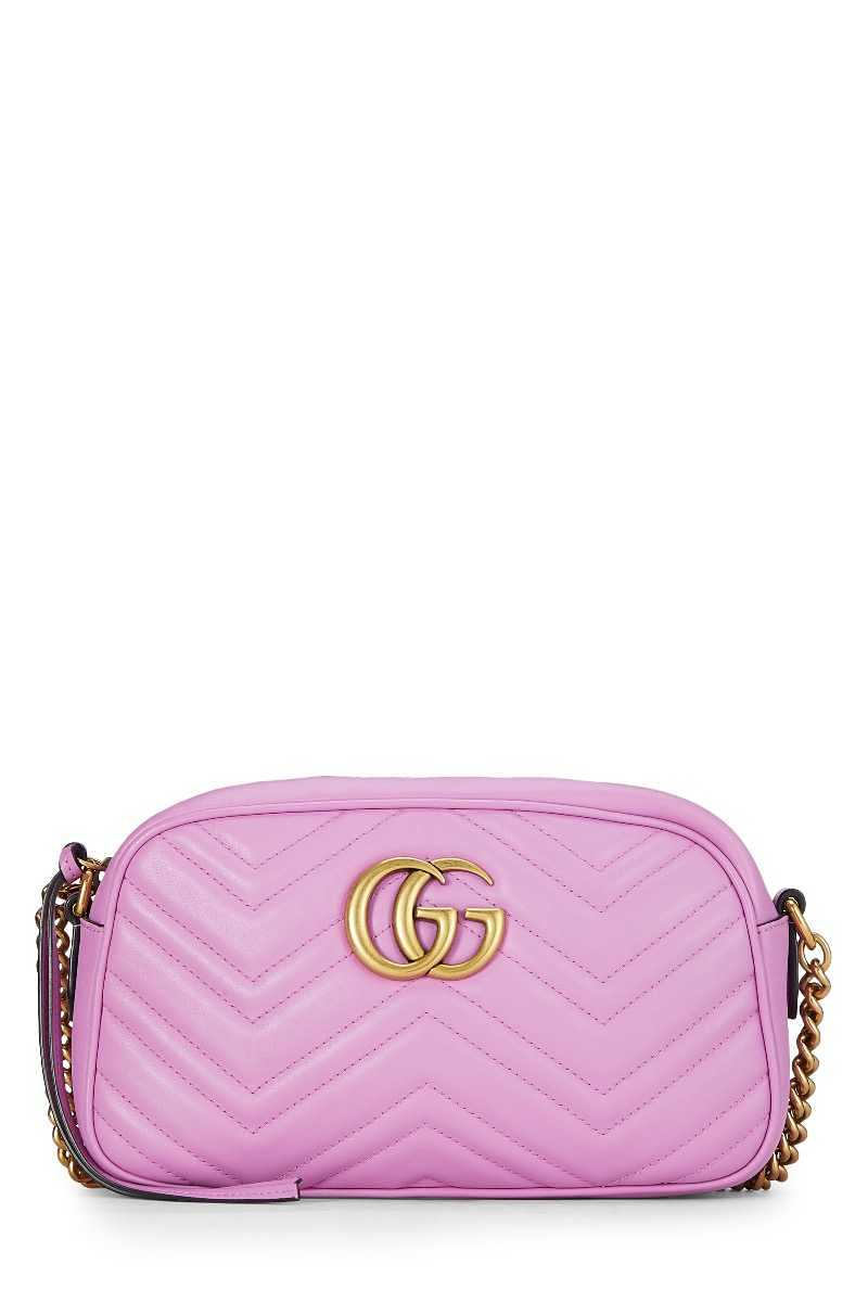 Pink Leather GG Marmont Crossbody Bag - What Goes Around Comes Around - GOOFASH