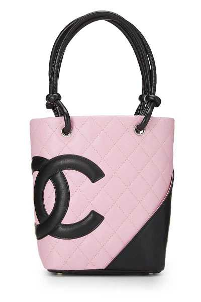 Pink Quilted Calfskin Cambon Ligne Tote Mini - What Goes Around Comes Around - GOOFASH
